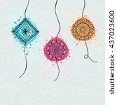 beautiful rakhi with floral... | Shutterstock .eps vector #437023600