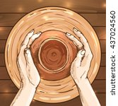 traditional pottery making ... | Shutterstock .eps vector #437024560