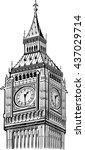 detail elizabeth tower  big ben ... | Shutterstock .eps vector #437029714