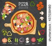 pizza on a cutting board... | Shutterstock .eps vector #437038480