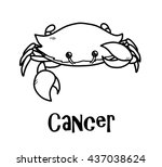 cancer zodiac  a hand drawn... | Shutterstock .eps vector #437038624