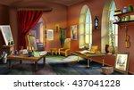 inside the artist's studio.... | Shutterstock . vector #437041228