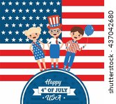happy independence day in usa.... | Shutterstock .eps vector #437042680