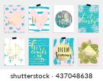 summer hand drawn calligraphyc... | Shutterstock .eps vector #437048638