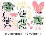summer hand drawn calligraphyc... | Shutterstock .eps vector #437048644