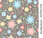 cute floral seamless pattern of ... | Shutterstock . vector #437051743
