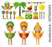 vector set of characters and... | Shutterstock .eps vector #437060443