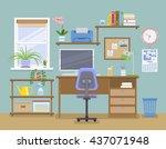 workspace for freelancer in... | Shutterstock .eps vector #437071948