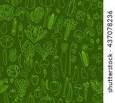 vegetables hand drawn green... | Shutterstock .eps vector #437078236