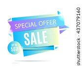 sale banner. blue sale poster.... | Shutterstock .eps vector #437079160