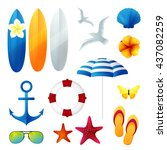 beach holiday design elements.... | Shutterstock .eps vector #437082259
