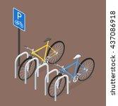 Isometric Bicycle Parking. Fla...