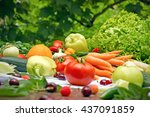 eating healthy food   organic... | Shutterstock . vector #437091859