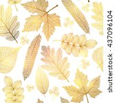 Seamless Pattern With Gold Lea...