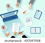 business concept. modern linear ... | Shutterstock .eps vector #437097058