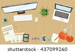 a business table top view.... | Shutterstock .eps vector #437099260