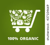 shopping cart with organic... | Shutterstock . vector #437104669
