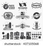vintage hand made logo  labels  ... | Shutterstock .eps vector #437105068