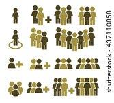 team work  crowd icon set | Shutterstock .eps vector #437110858