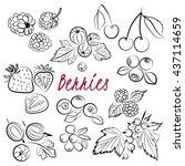 vector set of hand drawn... | Shutterstock .eps vector #437114659