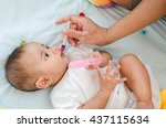baby feeding with liquid... | Shutterstock . vector #437115634