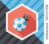 soccer ball flat icon with long ...   Shutterstock .eps vector #437117536