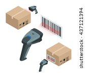 the manual scanner of bar codes.... | Shutterstock . vector #437121394
