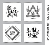 boho style cards set with... | Shutterstock .eps vector #437124079