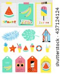 summer set with icon  tags ... | Shutterstock .eps vector #437124124