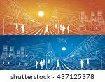 railway station  big bridge ... | Shutterstock .eps vector #437125378