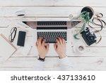 businessman at work. close up... | Shutterstock . vector #437133610