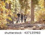 hispanic family of four walking ... | Shutterstock . vector #437135983