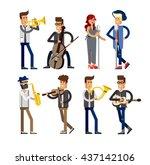 set of musicians people  flat... | Shutterstock .eps vector #437142106
