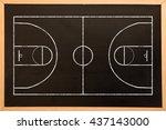 basketball field plan against... | Shutterstock . vector #437143000