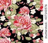 watercolor pattern with peony... | Shutterstock . vector #437143576