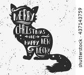 vintage greeting card. cat.... | Shutterstock . vector #437143759