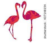 silhouette of flamingo vector... | Shutterstock .eps vector #437148154