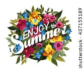 floral summer graphic design... | Shutterstock .eps vector #437155189