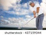 golf player taking a shot... | Shutterstock . vector #437159344