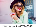 stylish pretty woman in casual  ... | Shutterstock . vector #437165548