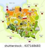 map of poland   vector... | Shutterstock .eps vector #437168683
