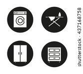 Furniture Icons Set. Washing...