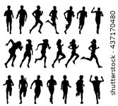 Set Of Silhouettes Of Running...