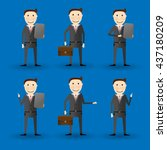 friendly cartoon businessman in ... | Shutterstock .eps vector #437180209
