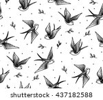 pattern seamless with swallows... | Shutterstock .eps vector #437182588