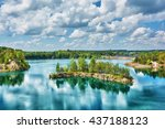basalt lake in the woods on the ... | Shutterstock . vector #437188123
