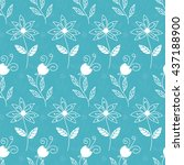floral seamless pattern with... | Shutterstock .eps vector #437188900