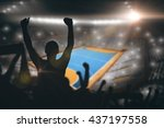 silhouettes of football... | Shutterstock . vector #437197558