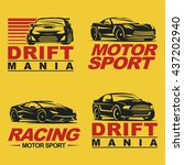 set of four sport cars logo ... | Shutterstock .eps vector #437202940