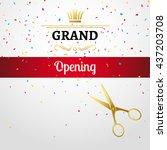 grand opening design template... | Shutterstock .eps vector #437203708